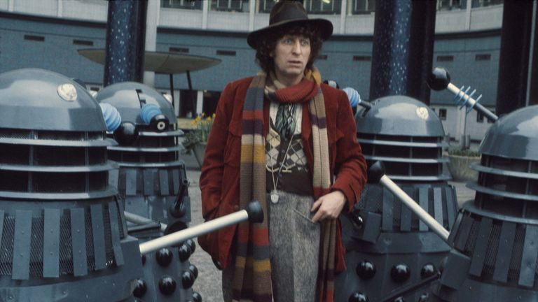 Tom Baker, who played the Fourth Doctor, amid the Daleks in 1974