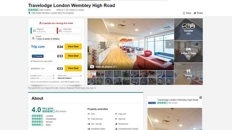 Travelodge said one of the hotels it failed to spot reviews on was a Wembley Central location