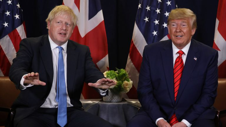 British Prime Minister Boris Johnson speaks during a bilateral meeting with U.S. President Donald Trump on the sidelines of the annual United Nations General Assembly in New York City, New York, U.S., September 24, 2019.