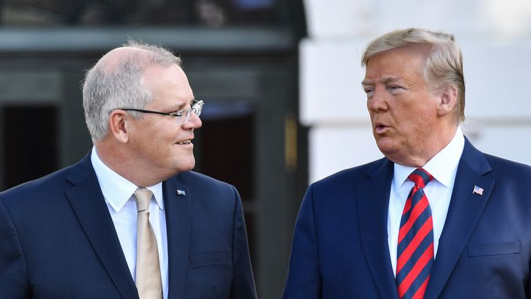 Donald Trump speaks with visiting Australian Prime Minister Scott Morrison at the White House
