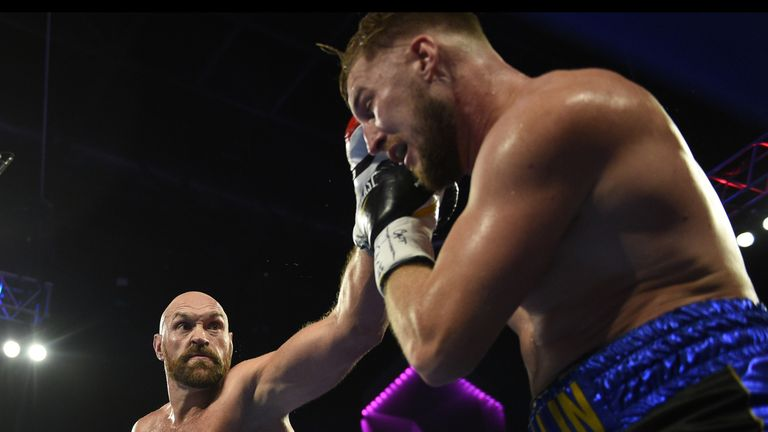 Tyson Fury punches Otto Wallin during their heavyweight fight at T-Mobile Arena