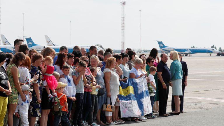Relatives of Ukrainian prisoners, included in the Russia-Ukraine prisoner swap, wait for their arrival at Borispil International Airport outside Kiev, Ukraine September 7, 2019