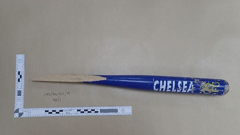 Part of a baseball bat used by Vincent Fuller during a terror attack in Stanwell, Surrey