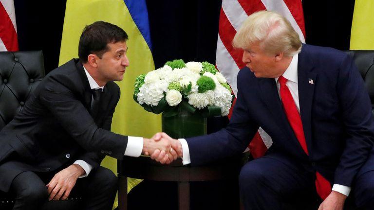 Ukraine's President Volodymyr Zelenskiy and US President Donald Trump