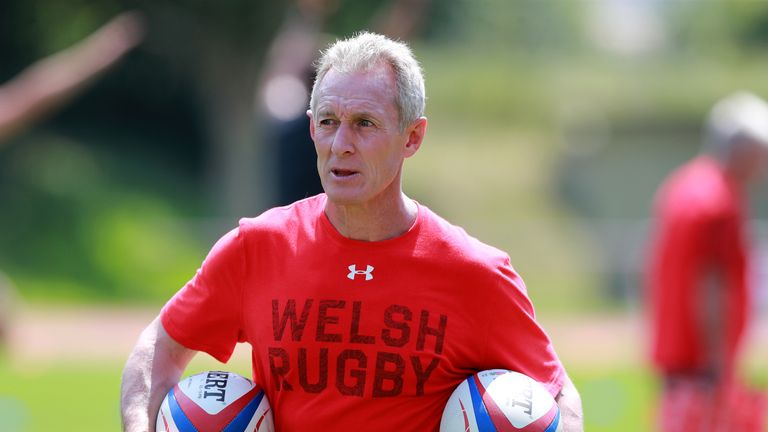 Rob Howley, the Wales backs coach looks on during the Wales pre Rugby World Cup training match on July 20, 2019 in Naters, Switzerland