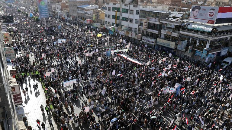 Thousands of Houthi followers rallied in Sanaa to mark the fifth anniversary of their movement's takeover of the capital