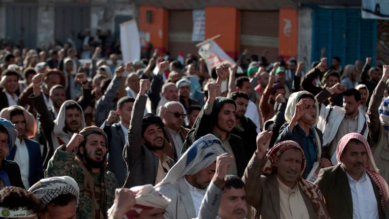 Houthi supporters gathered to celebrate the fifth anniversary of their capture of Sanaa