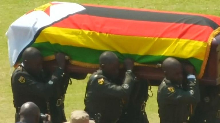 Robert Mugabe's funeral commemoration is taking place at a Harare sports stadium