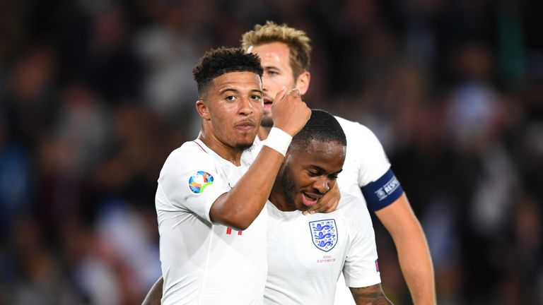 Gareth Southgate praised the 'outstanding' attacking play of Raheem Sterling, Jadon Sancho and Harry Kane in England's European Qualifiers win against Kosovo