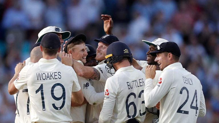 England celebrate victory in the fifth Ashes Test at The Oval that levelled the series at 2-2