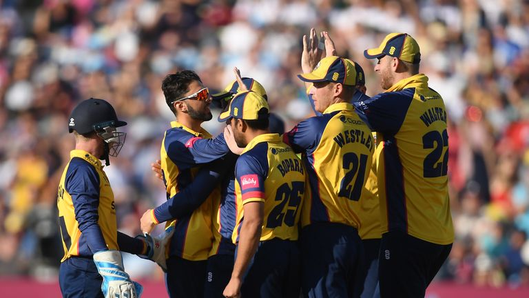 BIRMINGHAM, ENGLAND - SEPTEMBER 21: Aron Nijjar of Essex celebrates the wicket of Wayne Madsen of Derbyshire with his teammates during the Vitality T20 Blast Semi Final match between Derbyshire Falcons and Essex Eagles at Edgbaston on September 21, 2019 in Birmingham, England. (Photo by Alex Davidson/Getty Images)