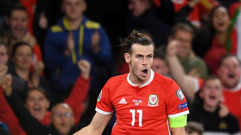 Gareth Bale celebrates making it 2-1 for Wales against Azerbaijan