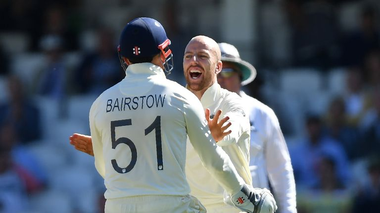 Jack Leach and Jonny Bairstow, England, Ashes Test at The Oval