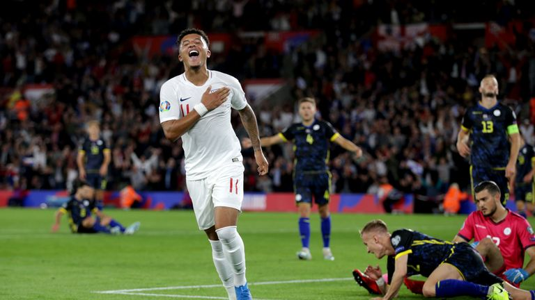 Jadon Sancho paid tribute to his late grandmother after he scored his first two England goals in their European Qualifier against Kosovo