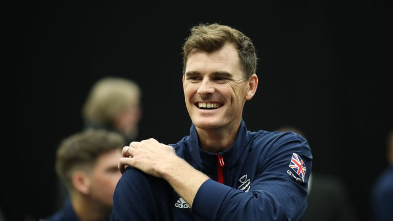 Jamie Murray prior to the Davis Cup match between Great Britain and Uzbekistan at Emirates Arena