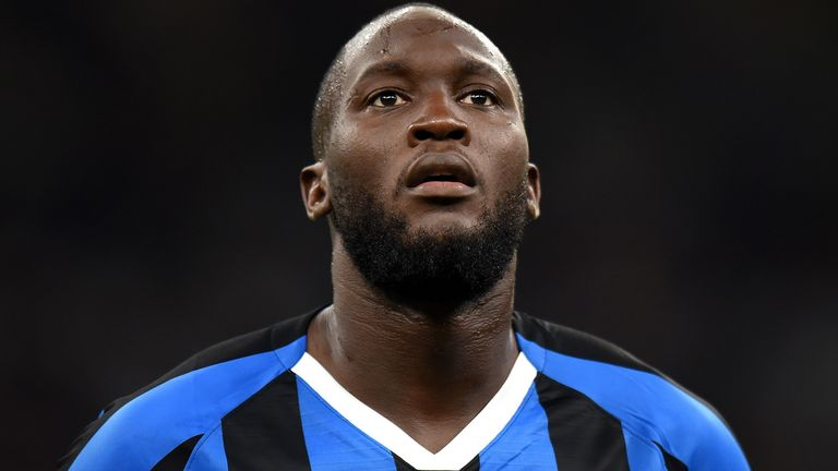 Romelu Lukaku before Inter Milan's game against Lecce