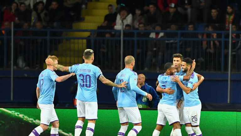 Manchester City celebrate a goal in the Champions League