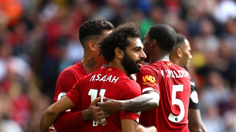Mohamed Salah celebrates his goal with team-mates
