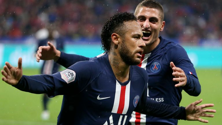 Neymar ignored the boos from his own fans as he scored PSG's winner against Lyon in Ligue 1 (Pictures: beIN Sport)