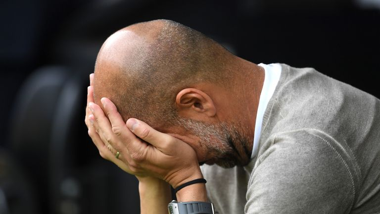 Pep Guardiola before the Premier League match at Carrow Road