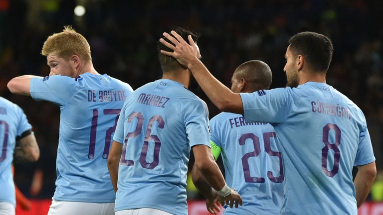 Manchester City celebrate after Riyad Mahrez's goal against Shakhtar Donetsk in the Champions League