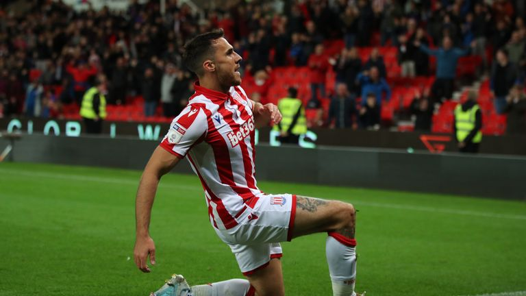"""Stoke City's Lee Gregory celebrates scoring his side's first goal of the game during the Sky Bet Championship match at the Bet365 Stadium, Stoke. PA Photo. Picture date: Friday September 27, 2019. See PA story SOCCER Stoke. Photo credit should read: Nick Potts/PA Wire. RESTRICTIONS: EDITORIAL USE ONLY No use with unauthorised audio, video, data, fixture lists, club/league logos or """"live"""" services. Online in-match use limited to 120 images, no video emulation. No use in betting, games or single club/league/player publications."""