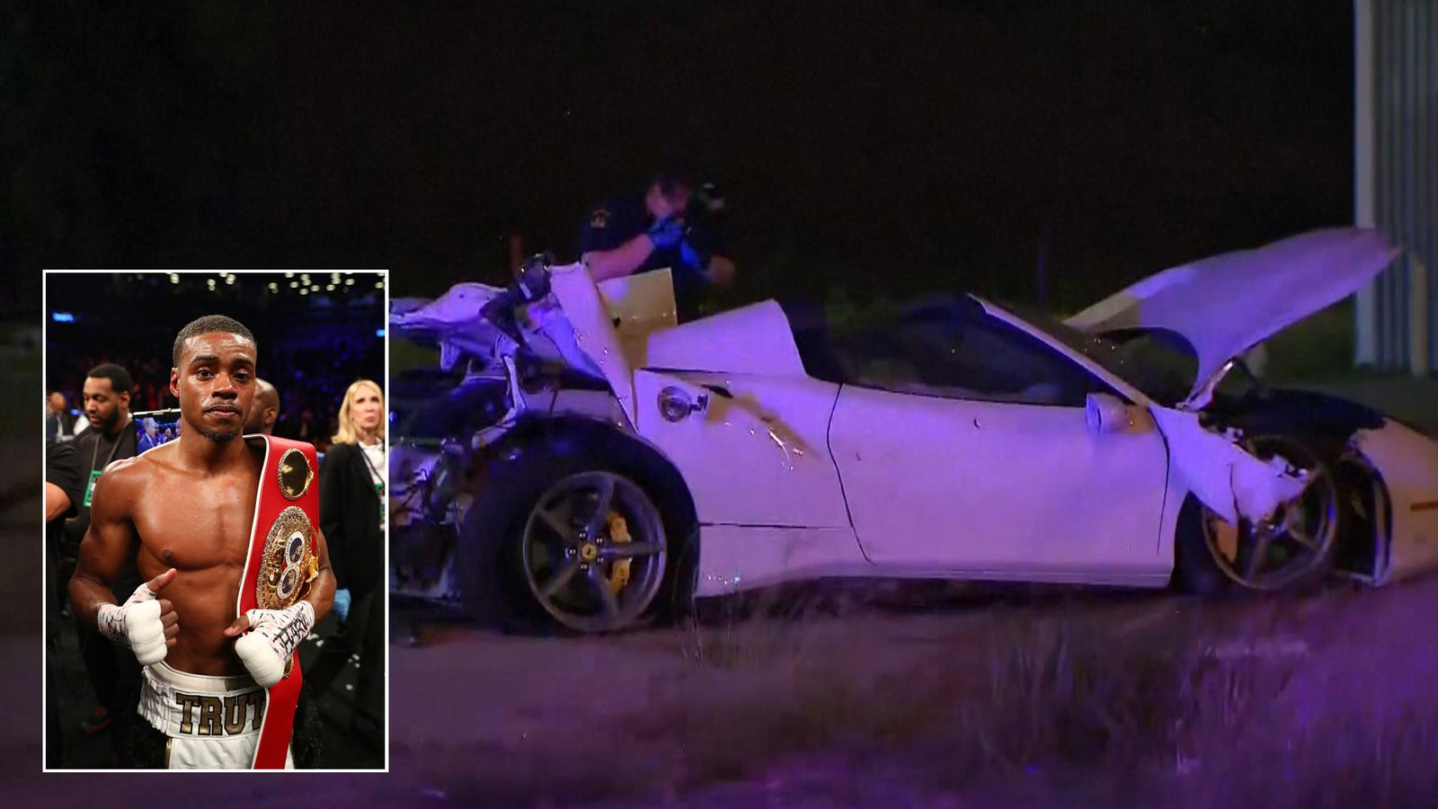 Boxing champion in intensive care after flipping his Ferrari