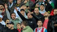 Bulgarian fans appear to make Nazi salutes during the match