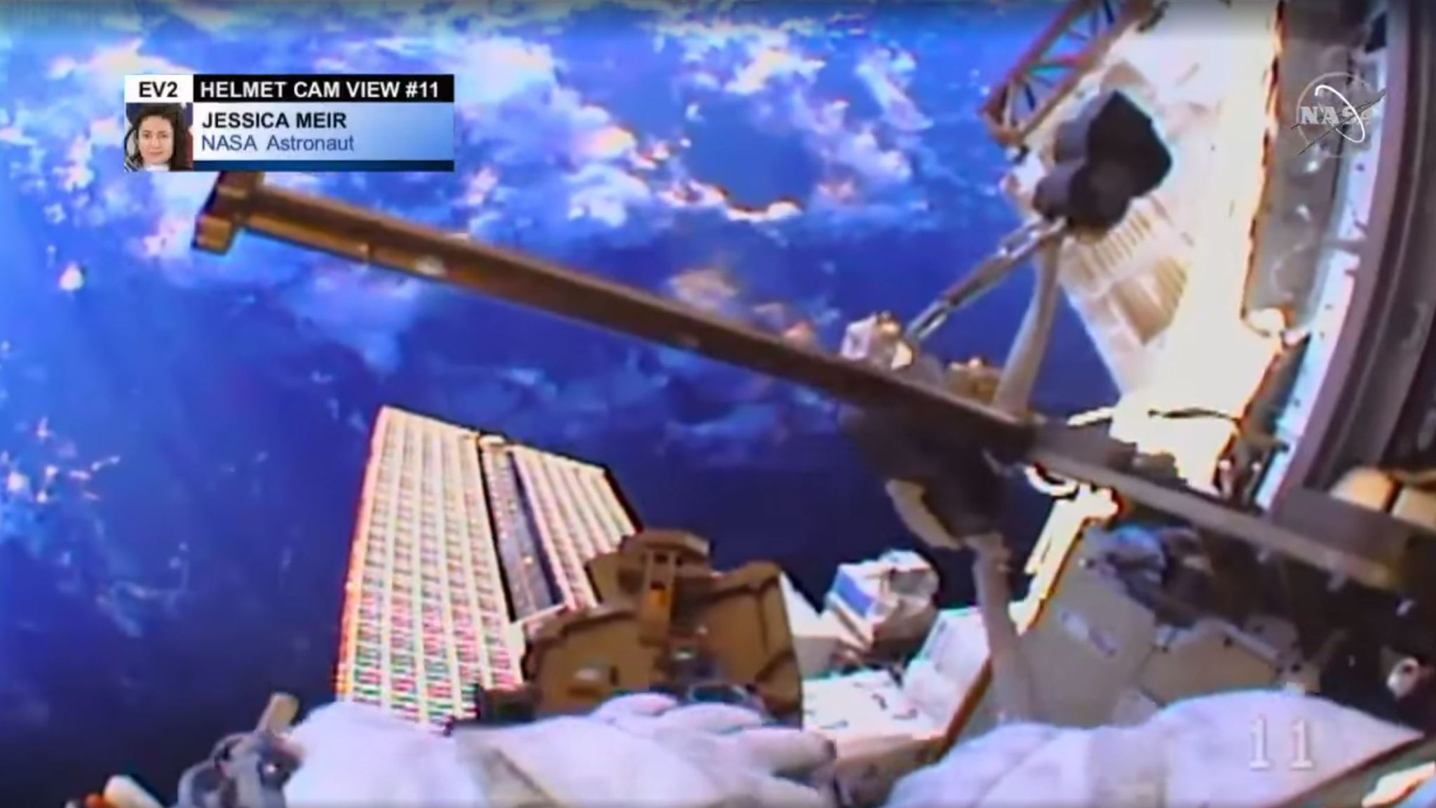 Helmet-cam footage shows Earth during first all-female spacewalk