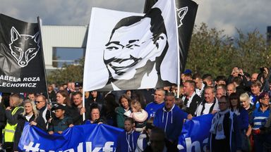 Leicester fans walk in memory of Vichai