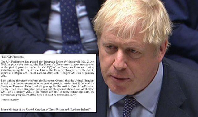 Boris Johnson asks EU for Brexit delay - but second letter urges them not to grant it