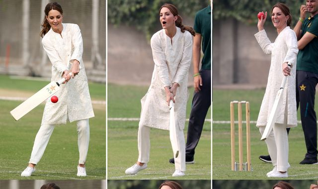 Will and Kate take turns at the wicket in Pakistan