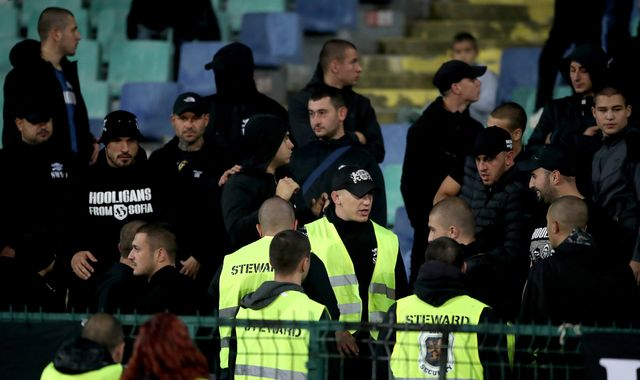 Bulgarian stewards ditched hi-vis vests to join fans in match against England