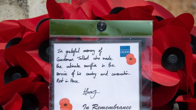 The words on a wreath left by the Duke of Sussex at the memorial site at the Liwonde National Park in Malawi, for Guardsman Mathew Talbot of the Coldstream Guards, who lost his life in May 2019 whilst on a joint anti-poaching patrol with local park rangers, on day eight of the royal tour of Africa.