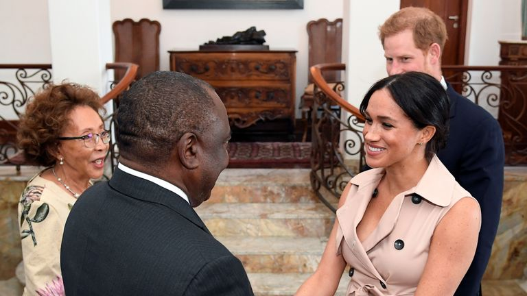 The Duke and Duchess of Sussex meet South African President Cyril Ramaphosa and his wife Tshepo Motsepe at Presidential Official Residence in Pretoria, South Africa, on day ten of their tour in Africa.