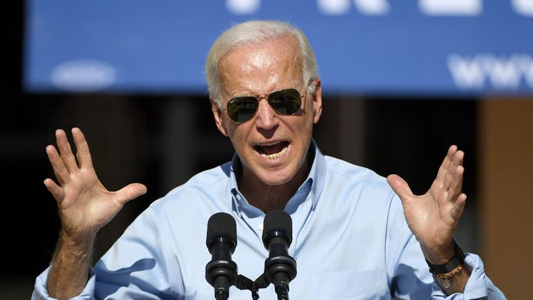 LAS VEGAS, NEVADA - SEPTEMBER 27:  Democratic presidential candidate and former U.S. Vice President Joe Biden speaks to voters at the East Las Vegas Community Center on September 27, 2019 in Las Vegas, Nevada. Biden is still the front-runner in most national polls but his lead over U.S. Sen. Elizabeth Warren is narrowing.  (Photo by Ethan Miller/Getty Images)