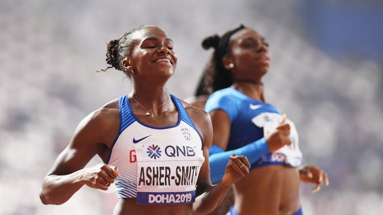 DOHA, QATAR - OCTOBER 02: Dina Asher-Smith of Great Britain wins the Women's 200 metres final during day six of 17th IAAF World Athletics Championships Doha 2019 at Khalifa International Stadium on October 02, 2019 in Doha, Qatar. (Photo by Matthias Hangst/Getty Images)