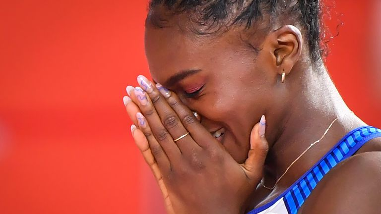 Britain's Dina Asher-Smith reacts after winning the Women's 200m final at the 2019 IAAF Athletics World Championships at the Khalifa International stadium in Doha on October 2, 2019. (Photo by ANDREJ ISAKOVIC / AFP) (Photo by ANDREJ ISAKOVIC/AFP via Getty Images)