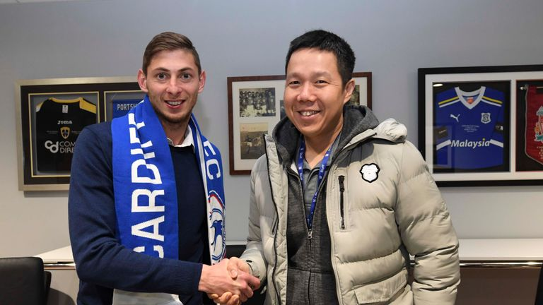 CARDIFF, WALES - JANUARY 18: Emiliano Sala and Ken Choo CEO on January 18, 2019 in Cardiff, Wales. (Photo by Cardiff City FC/Getty Images)