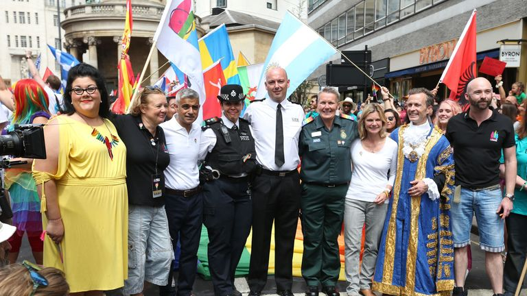 Night Czar Amy Lame (left), Mayor of London Sadiq Khan (third left) and Education Secretary Justine Greening (third right) during the Pride in London Parade in central London.