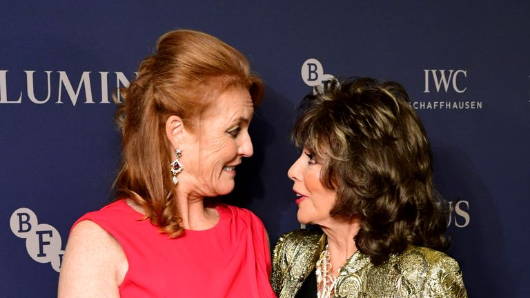 Sarah Ferguson the Duchess of York and Joan Collins attending the LUMINOUS Fundraising Gala as part of the BFI London Film Festival 2019 held at the Roundhouse in London.