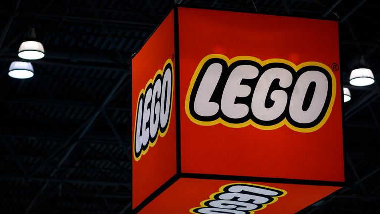 A Lego logo is pictured during the annual New York Toy Fair, at the Jacob K. Javits Convention Center on February 16, 2019 in New York City. (Photo by Johannes EISELE / AFP)        (Photo credit should read JOHANNES EISELE/AFP/Getty Images)