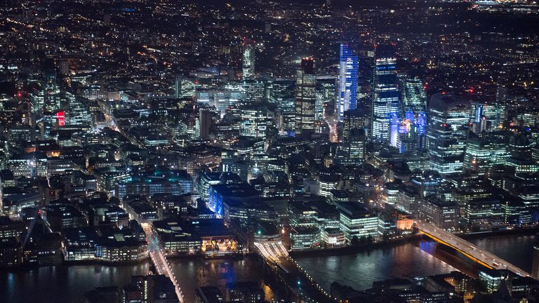 An aerial view of the City of London