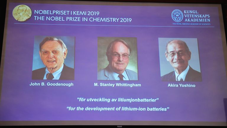 "A screen displays the portraits of the laureates of the 2019 Nobel Prize in Chemistry (L-R) John B. Goodenough, M. Stanley Whittingham, and Akira Yoshino ""for the development of lithium-ion batteries"" during a news conference at the Royal Swedish Academy of Sciences in Stockholm, Sweden, October 9, 2019. Naina Helen Jama/TT News Agency/via REUTERS      ATTENTION EDITORS - THIS IMAGE WAS PROVIDED BY A THIRD PARTY. SWEDEN OUT. NO COMMERCIAL OR EDITORIAL SALES IN SWEDEN."