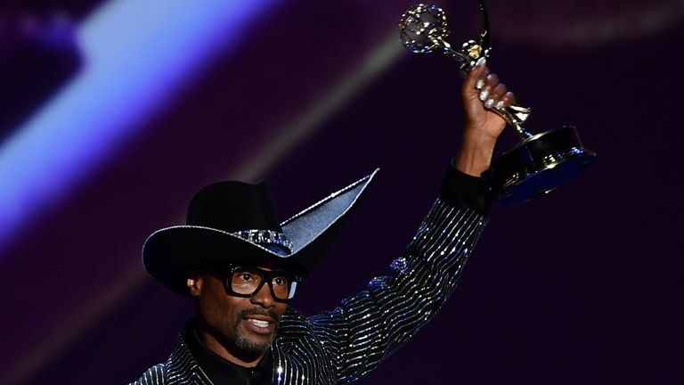 "TOPSHOT - US actor Billy Porter accepts the award for lead Outstanding Lead Actor In A Drama Series for ""Pose"" onstage during the 71st Emmy Awards at the Microsoft Theatre in Los Angeles on September 22, 2019. (Photo by Frederic J. BROWN / AFP)        (Photo credit should read FREDERIC J. BROWN/AFP/Getty Images)"
