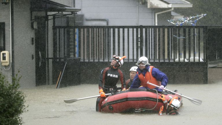 A residential area is flooded in Ise, Mie Prefecture, central Japan, ahead of the arrival of Typhoon Hagibis, in this photo taken by Kyodo October 12, 2019.  Mandatory credit Kyodo/via REUTERS ATTENTION EDITORS - THIS IMAGE WAS PROVIDED BY A THIRD PARTY. MANDATORY CREDIT. JAPAN OUT.