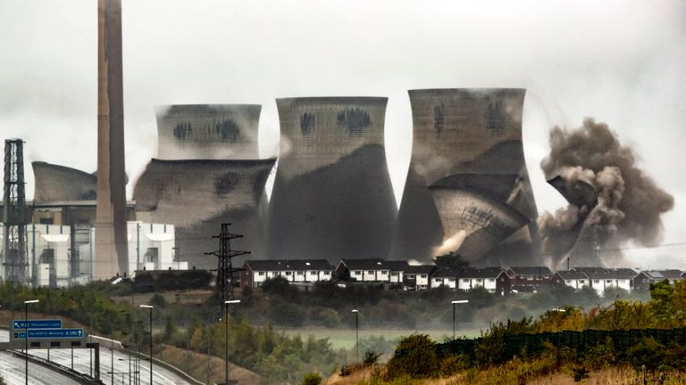 Four of the cooling towers at the record-breaking Ferrybridge Power Station, during their demolition by controlled explosion. Ferrybridge C, in West Yorkshire, provided the UK with energy for 50 years until its owners, energy company SSE, made the decision to close the coal-fired power station in March 2016.