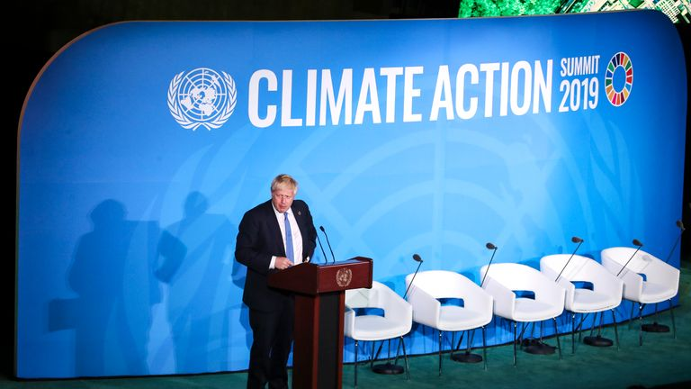 NEW YORK, NY - SEPTEMBER 23: British Prime Minister Boris Johnson speaks at the United Nations Climate Action Summit at UN headquarters on September 23, 2019 in New York City. While the U.S. will not be participating in the day-long event, China and about 70 other countries are expected to make announcements concerning climate change. The summit at the U.N. comes after a worldwide Youth Climate Strike on Friday, which saw millions of young people around the world demanding action to address the climate crisis. (Photo by Drew Angerer/Getty Images)