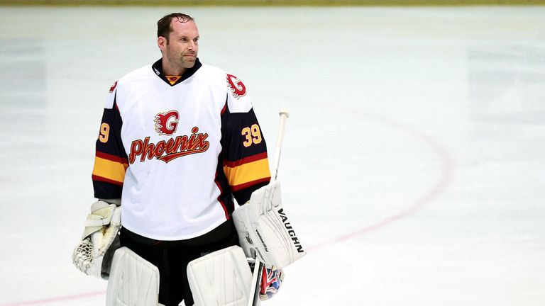Guildford Phoenix goaltender Petr Cech during the NIHL2 match at Guildford Spectrum Leisure Complex, Guildford.
