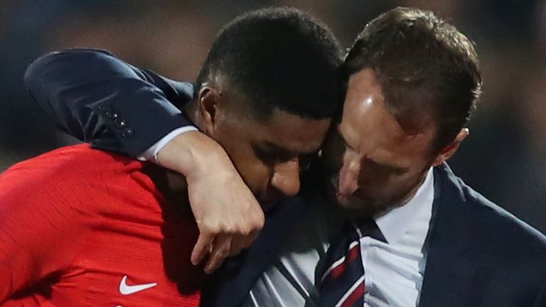 Soccer Football - Euro 2020 Qualifier - Group A - Bulgaria v England - Vasil Levski National Stadium, Sofia, Bulgaria - October 14, 2019  England's Marcus Rashford with manager Gareth Southgate after being substituted off  Action Images via Reuters/Carl Recine